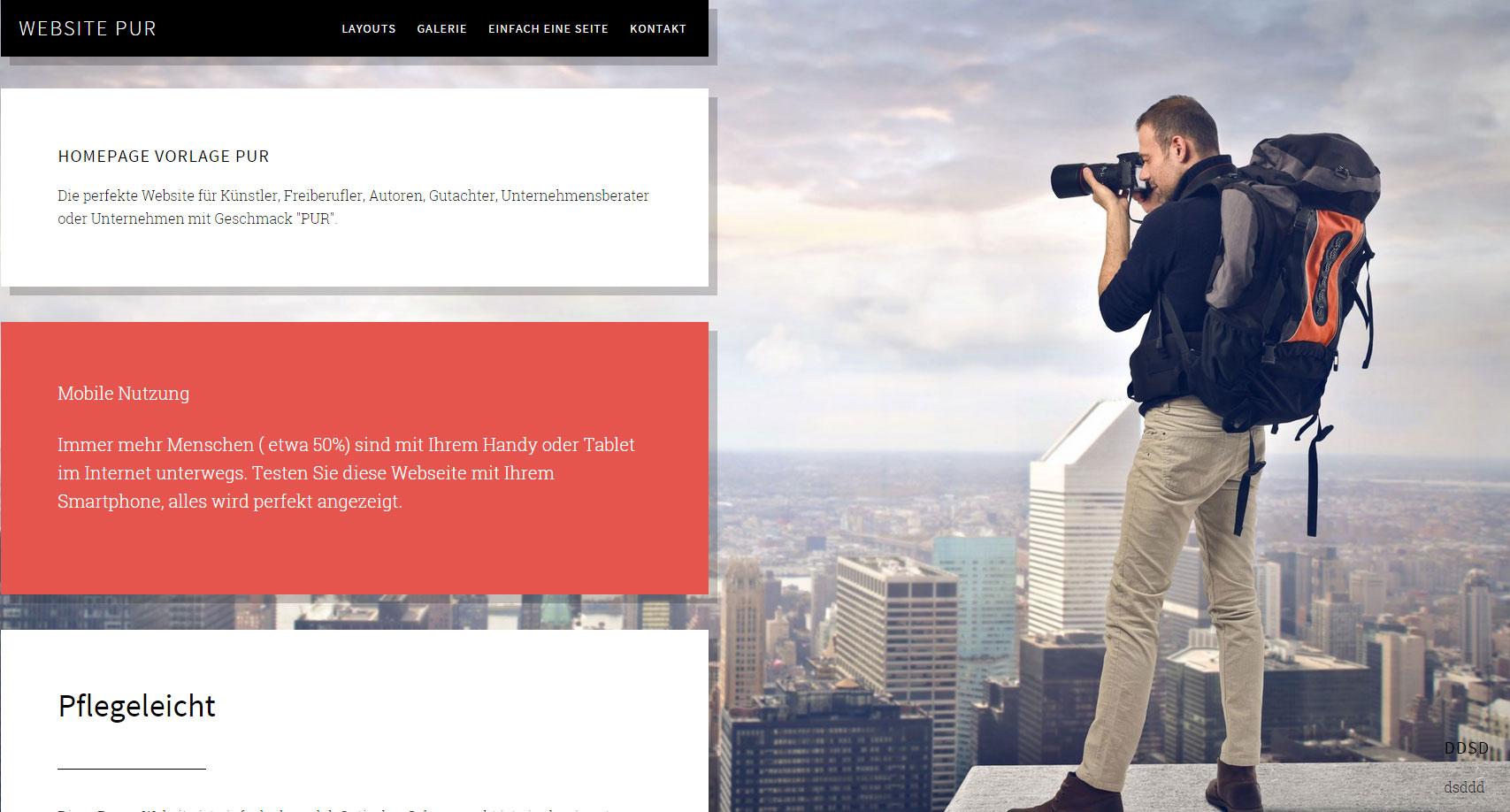 Fertige Demo Webseite bzw. Homepage Vorlage Pur