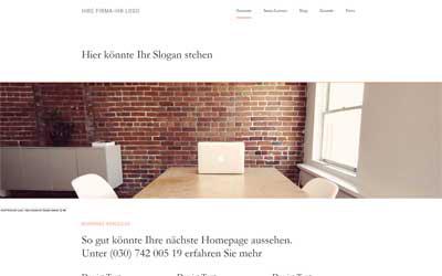 Homepage Vorlage minimalistisches Webdesign