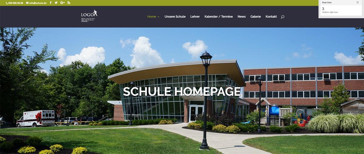 Vorlage Schulhomepage, für Erstellung Webseite Schule